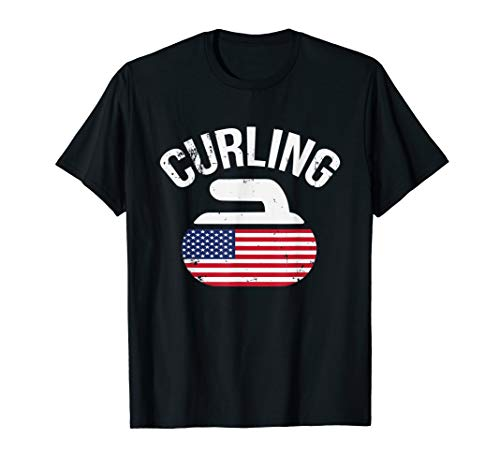 USA Red White and Blue American Flag Curling Stone Shirt