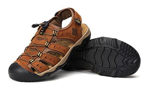 Sandalo Pelle Marrone Sportivi Sandali da Sandali All'aperto Spiaggia Chiuso Studio Trekking SK Estivi 2 Uomo UAwqRxUY