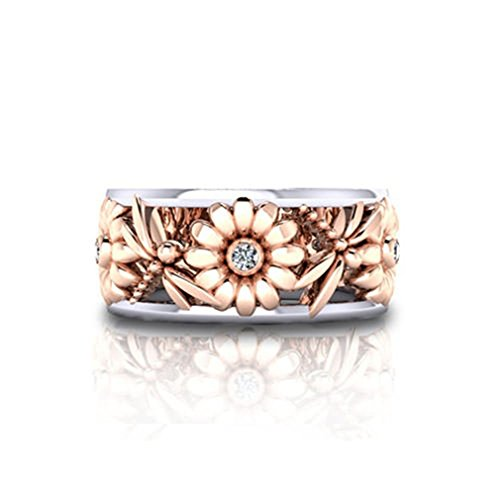 Meolin Sunflower Ring Chrysanthemum Ring Wedding Ring Statement Stackable Band Ring Eternity Cocktail Band (Size/6/7/8/9/10),Rose gold,Size 6