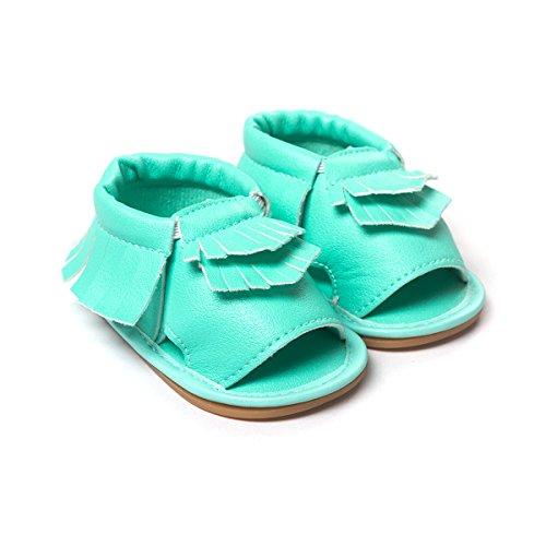 etrack-online bebé niño niña Prewalker de piel sintética borla de Verano Sandalias blanco roto blanco Talla:12-18months verde