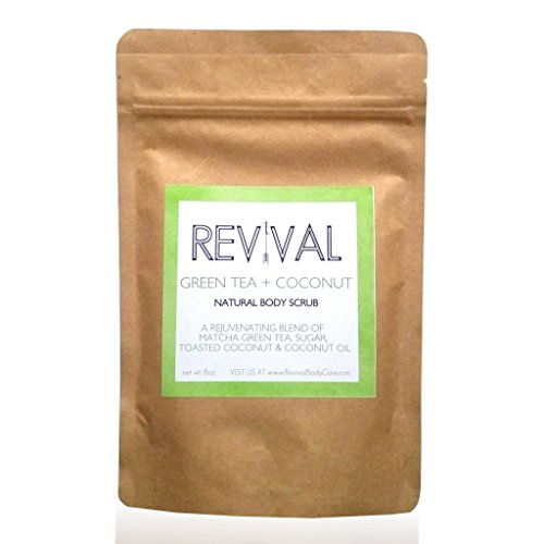 Revival Body Care Organic Cane Sugar Green Tea & Coconut Body Scrub (Cheap Cane Baskets)