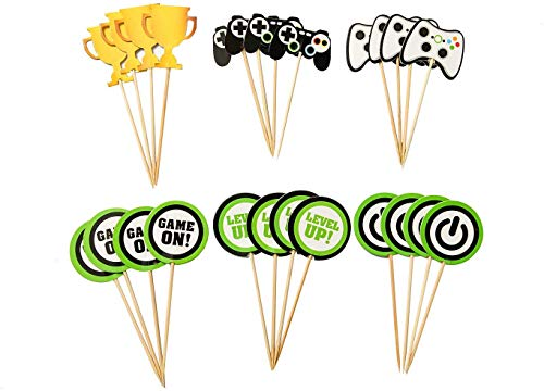 24 Pcs Video Game Cupcake Toppers, Food/Appetizer Picks for Kids Game Themed Party Supplies Cake Decorations - Double Side
