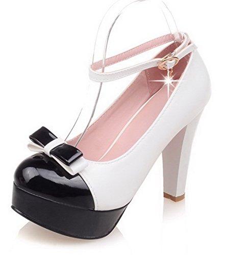 AgooLar Damen Schnalle Rund Zehe Hoher Absatz PU Gemischte Farbe Pumps Schuhe Weiß