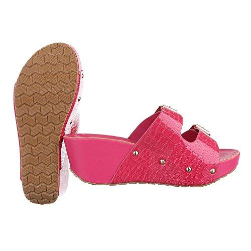 Ital-Design Pantoletten Damen Schuhe Jazz & Modern Keilabsatz/Wedge Keilabsatz Sandalen/Sandaletten Pink