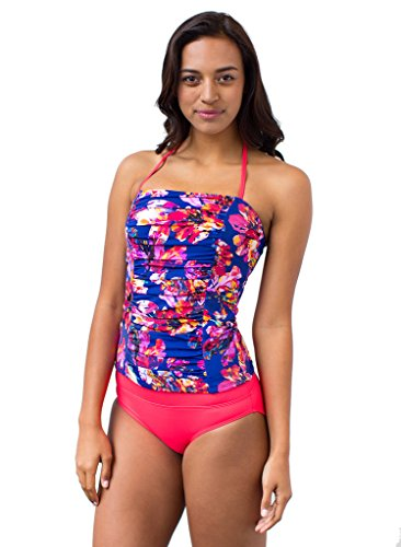 Bandeau Navy-Floral Tankini Top