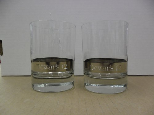 Set of 2 Dewars 12 Year Old Scotch Whisky Round Lowball Rocks Tumbler Glasses