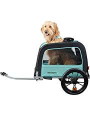 Retrospec Rover Hauler Pet Bike Trailer - Small & Medium Sized Dogs Bicycle Carrier - Foldable Frame with 16 Inch Wheels - Non-Slip Floor & Internal Leash