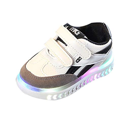 Tantisy ♣↭♣ Toddler/Little Kid Boy and Girl Classic Adjustable Strap Sneaker/LED Luminous Sport Shoes/Fashion Athletic Shoes White