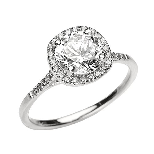 Dainty 10k White Gold Halo Diamond and White Topaz Centerstone Engagement Proposal Ring (Size 6)