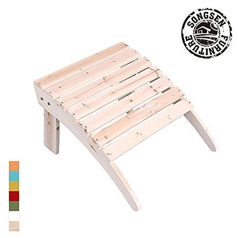 Songsen Outdoor Log Wood Adirondack Chair Ottoman Patio Deck Garden Furniture - Natural (Adirondack Chairs With Ottoman)
