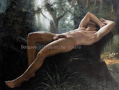 Art Prints Male Nude Painting Canvas Transfer with Hand-Painted Detail Portrait Handsome Young Men Male Nudes Gay Art Sitting Men Giclee Print Signed for Home Wall Art Decor (24