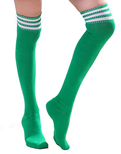 HDE Women Three Stripe Over Knee High Socks Extra Long Athletic Sport Tube Socks (Green/White)]()