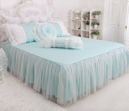 FADFAY Home Textile,Beautiful Korean Rose Bedding Sets,Luxury Girls Pink Lace Ruffle Bedding Sets