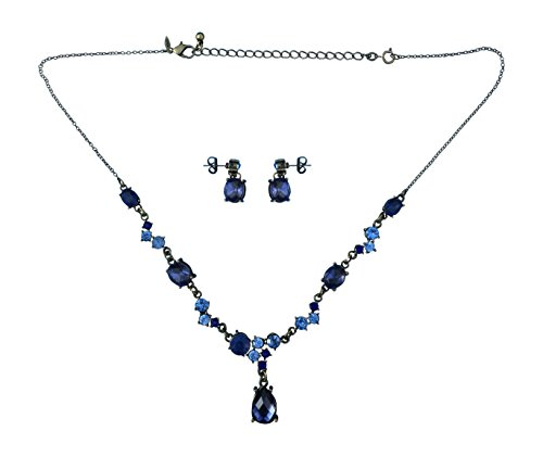 After Dark Gift Set Necklace + Drop Earrings BLUE Jeweled