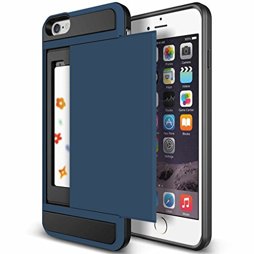 iPhone 5S Case, Anuck Heavy Duty Hybrid Shockproof Armor iPhone 5S Cover [Card Slot Wallet Case] Soft Rubber Bumper Rugged Protective Case Card Holder for Apple iPhone SE / 5S / 5 - Dark Blue (Iphone 5 Storage Case compare prices)