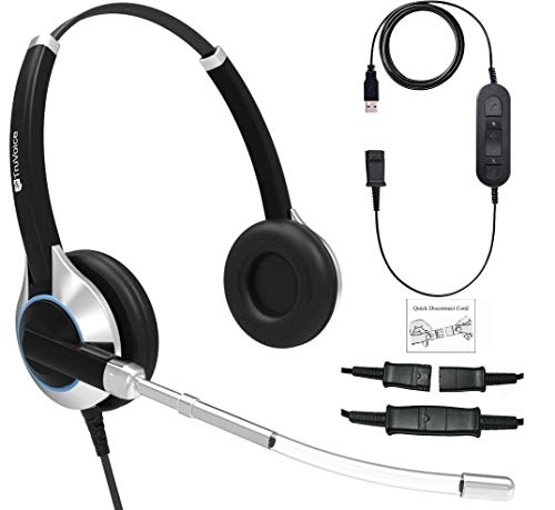 (TruVoice Deluxe Double Ear Voice Tube Headset with USB Adapter Cable with Mute Switch and Volume Control for PC, Softphones; Skype, Skype for Business, Office 365, Avaya One-X and Cisco Jabber etc)
