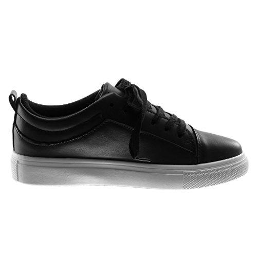Angkorly Damen Schuhe Sneaker - Sporty Chic - Tennis - Nieten - Besetzt - Metallisch Flache Ferse 3 cm Schwarz