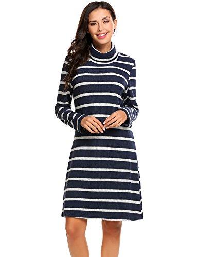 ELESOL Women's Long Sleeve Stripes Knit Turtleneck Loose Fit Pullover Sweater Dress Navy Blue L