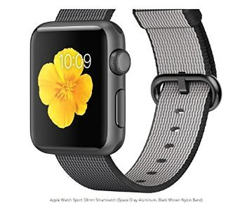Apple Watch MMF62LLA Sport 38mm Smartwatch (Space Gray Aluminum Black Woven Nylon Band)
