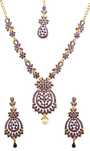 Designer Inspired Necklace Set (NEW! Touchstone Indian Bollywood Floral Inspired Faux Blue Sapphire Rhinestones Designer Bridal Jewelry Necklace Set For Women in Antique Gold Tone.)