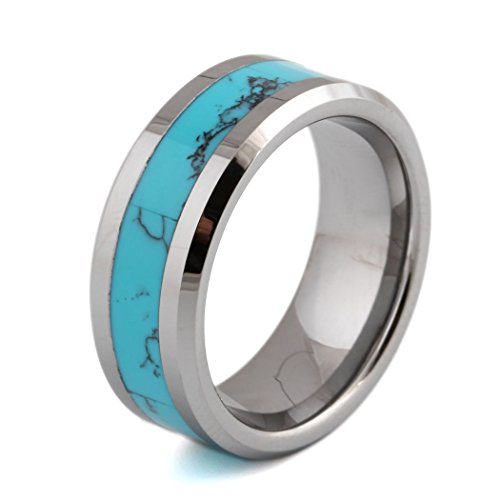 8mm Created-turquoise Men's Wedding Band Ring in Comfort Fit Sizes 7 to 12