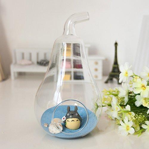 Home Decor Pear Crystal Glass Vase Planter Hydroponic Pot Terrarium Container