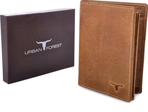 URBAN FOREST, Cntmp, Portafoglio In Pelle, Portamonete, Portafogli, In Pelle Naturale, 9,5 x 12,5 x 2 cm marrone cognac