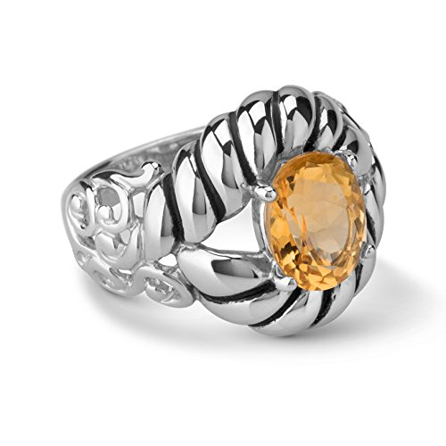 Carolyn Pollack Sterling Silver Yellow Citrine Gemstone Rope and Scroll Ring Size 8