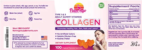41nKLv4HyxL - Flamingo Supplements - Hydrolyzed Collagen Gummies Type I & III | Kosher & Halal, No Gelatin, Non GMO | Strengthen Hair, Skin, Nails & Joint Care | Tropical Flavor | 100 Count