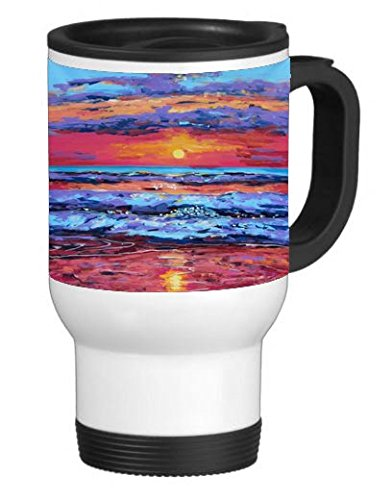 Sunset over Ocean 14 ounce Stainless Travel Mug Thermos