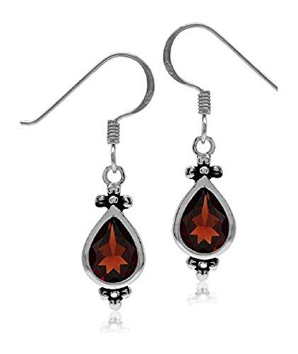 2.42ct. 8x6MM Natural Pear Shape Garnet 925 Sterling Silver Flower Dangle Hook Earrings
