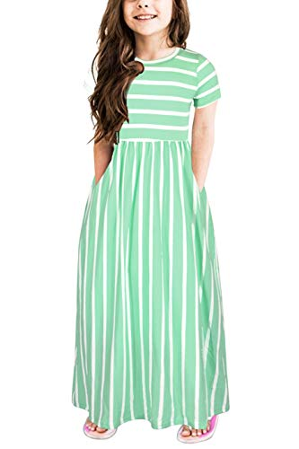 Gorlya Girl's Short Sleeve Floral Print Loose Casual Holiday Long Maxi Dress with Pockets 4-12 Years (9-10Years/Height:140cm, Green Stripe)
