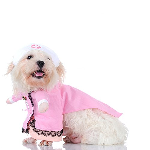 Cat Nurse Costume Pet Nurse Clothing Halloween Jeans Outfit Apparel (S)]()