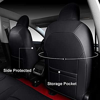 INCH EMPIRE Car Seat Cover for Tesla Model 3 PU Leather Seat Protector 14pcs Fully Wrapped Custom Fit for Model 3 2020 2020 2020 2020 All Season(Black): Automotive