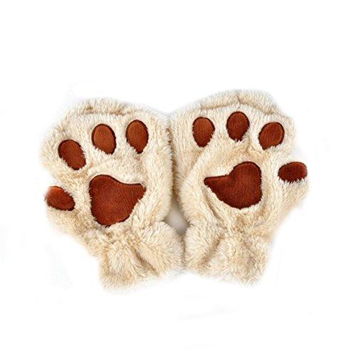 XY Fancy Damen Mädchen süße Katze Kralle Bärenkralle fingerlose Handschuhe Winter Halbfingerhandschuhe, Beige