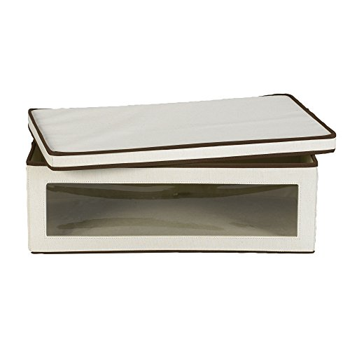 Household Essentials 514 Vision Storage Box - Natural Canvas with Brown Trim - Large