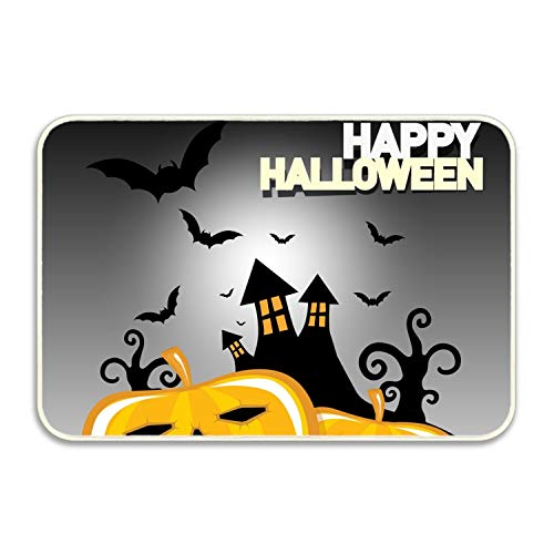 Ranhkdn Doormat Happy Halloween with Spooky Castle Bats