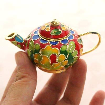 ZAMTAC Cute Chinese Cloisonne Mini Teapot Decoration Ornaments Handmade fetal Copper Filigree Enamel Home Decor Pot Crafts Gift - (Color: Round Pot red)