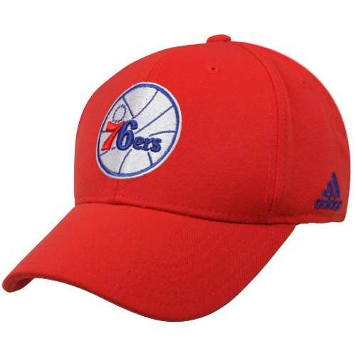 NBA adidas Philadelphia 76ers Basic Logo Structured Flex Hat – Red – DiZiSports Store