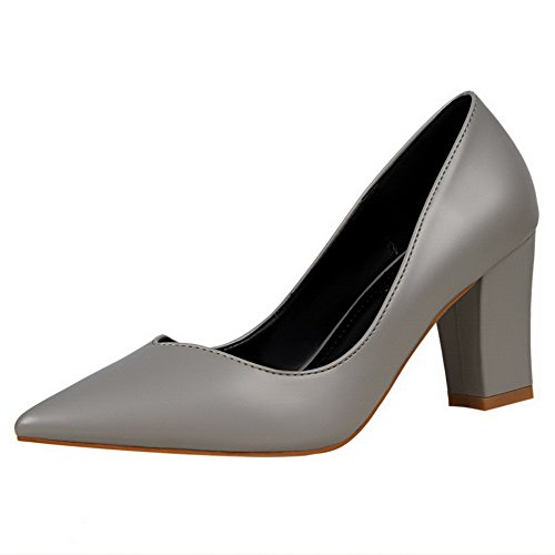 WeiPoot Closed Kitten Gray PU On Pull Solid Heels Women's Pumps Shoes Toe wRrpxqOwS
