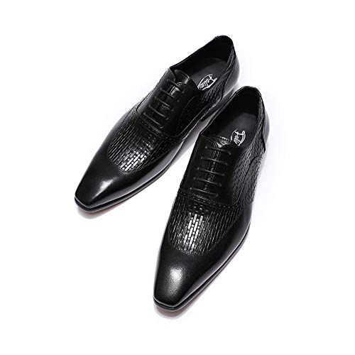 Felix Chu Mens Dress Shoes Black Italian Genuine Leather Oxfords Wedding Office Luxury Lace-Up Formal Shoes