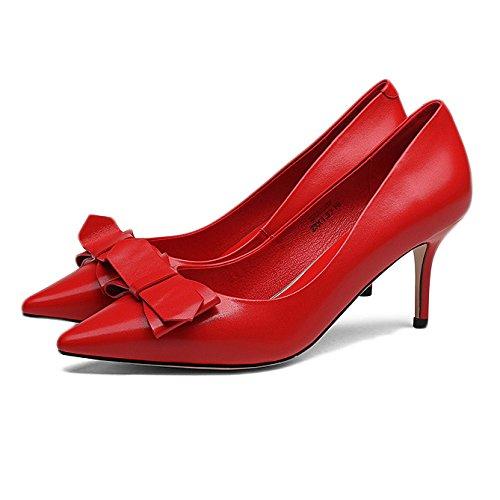 Femme Noir Hauts Talons Mode Sexy Cour De Travail Chaussures Mariage,Red-8.8cm-EU:37/UK:4.5