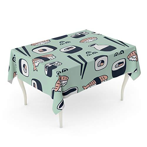 - Tarolo Rectangle Tablecloth 52 x 70 Inch Asia Sushi Pattern Asian Bowl California Cartoon Character Table Cloth