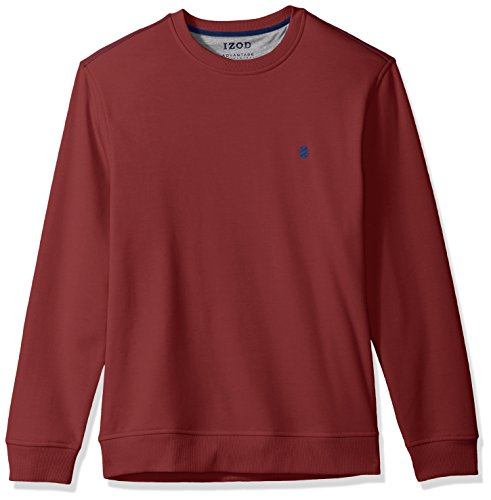 Mens Sweatshirt Cycling - IZOD Men's Advantage Performance Long Sleeve Solid Fleece Soft Crewneck Pullover, Biking Red, Large