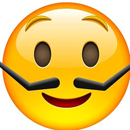 smiley face emoji mustache