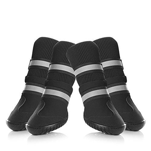 Petacc Dog Shoes Waterproof Dog Boots Anti-slip Snow Boots Warm Paw Protector for Dog in Winter Size L with Black
