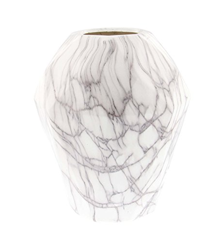 Deco 79 60773 Ceramic and Marble Bud Vase, White/Black