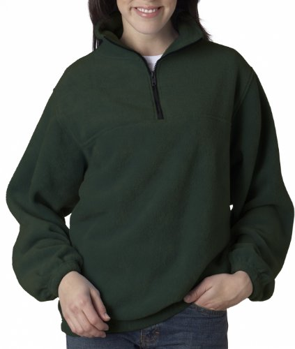 8480 UltraClub Adult UltraClub® Iceberg Fleece 1/4-Zip Pullover (Forest Green) (XL)