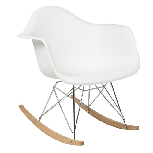 Best Choice Products Eames RAR Style Mid Century Modern Molded Plastic Rocking Rocker Shell Arm Chair