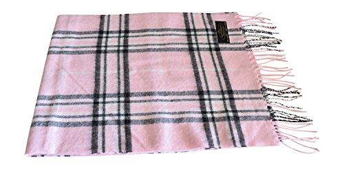 Annys Super Soft 100% Cashmere Scarf 12 X 72 with Gift Bag (Pink/Black Plaid) ()